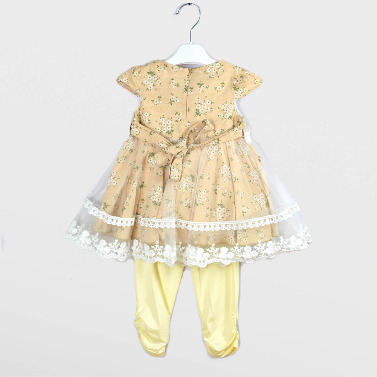 Fancy Frock Flowers with Tights-Gold
